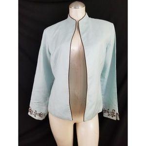 Coldwater Creek Size 10 Blue Linen Blazer